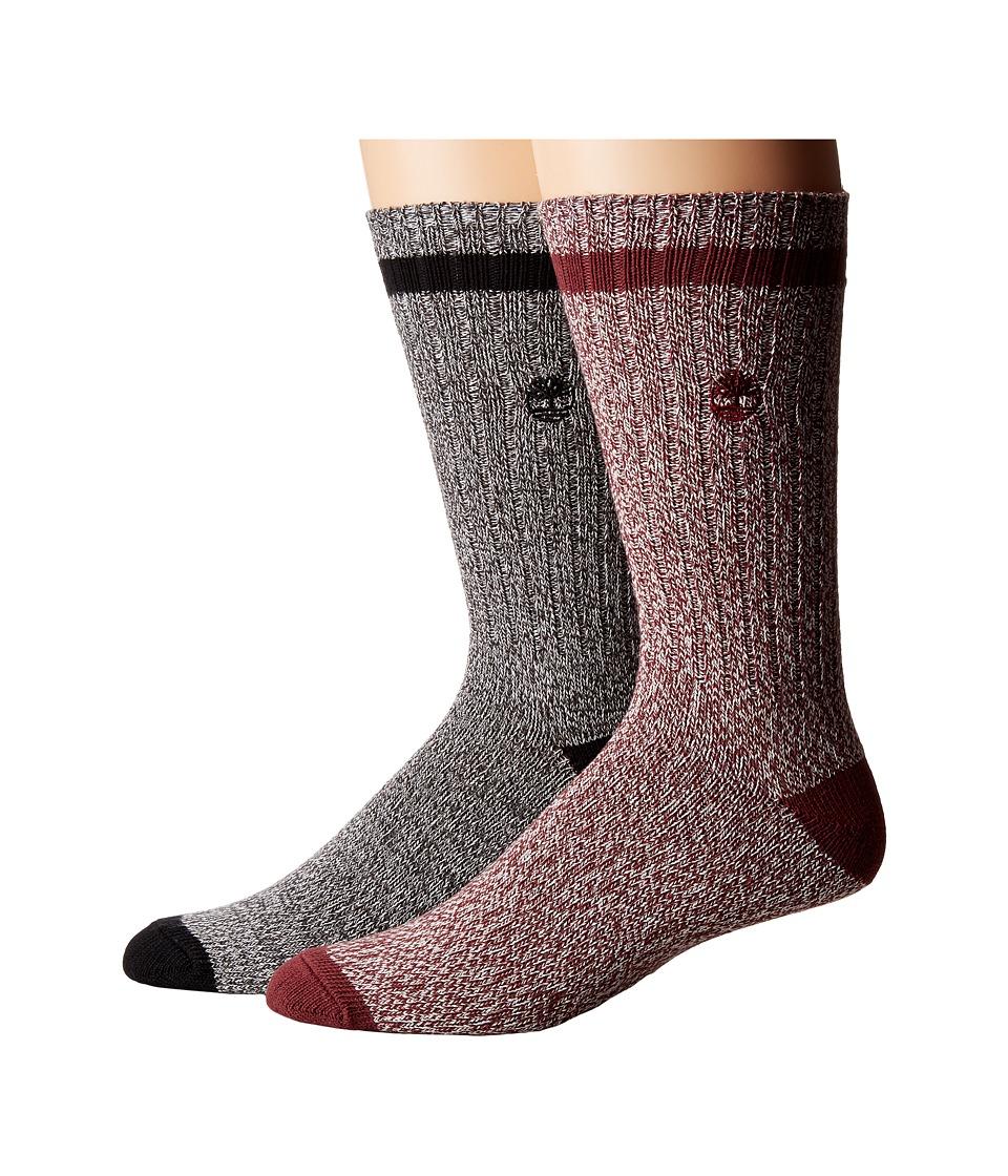 Timberland - Rugged Heritage 2-Pack Crew Socks (Grey/Port) Men's Crew Cut Socks Shoes