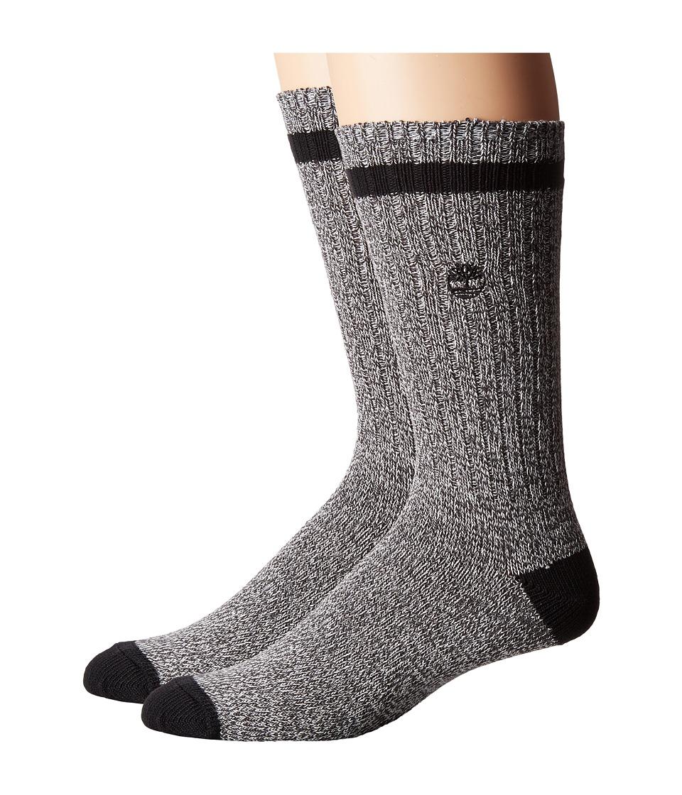 Timberland - Rugged Heritage 2-Pack Crew Socks (Grey/Navy) Men's Crew Cut Socks Shoes