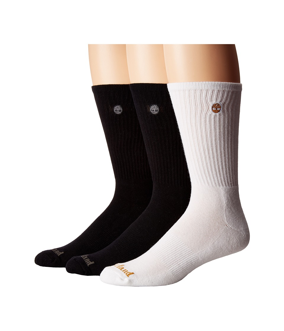 Timberland Classic 3-Pack Boot Crew Socks (Black/Black/White) Men