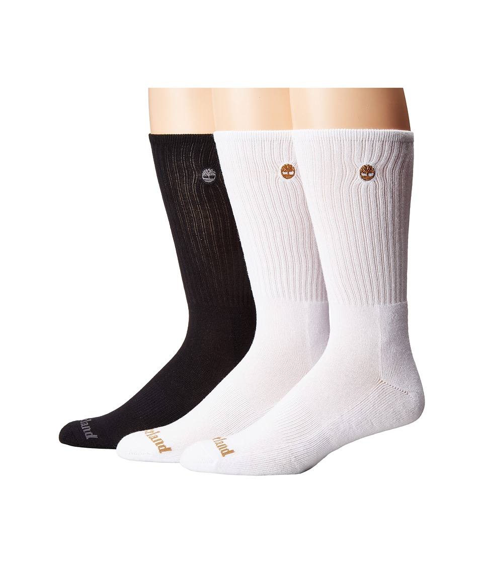 Timberland Classic 3-Pack Boot Crew Socks (White/White/Black) Men