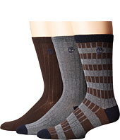 Timberland - Stripe/Solid 3-Pack Rib Crew Socks