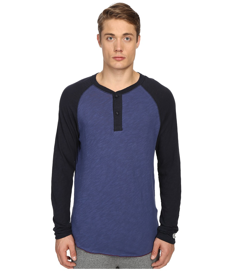 Todd Snyder Champion Color Block Henley Washed Royal Mens Long Sleeve Pullover