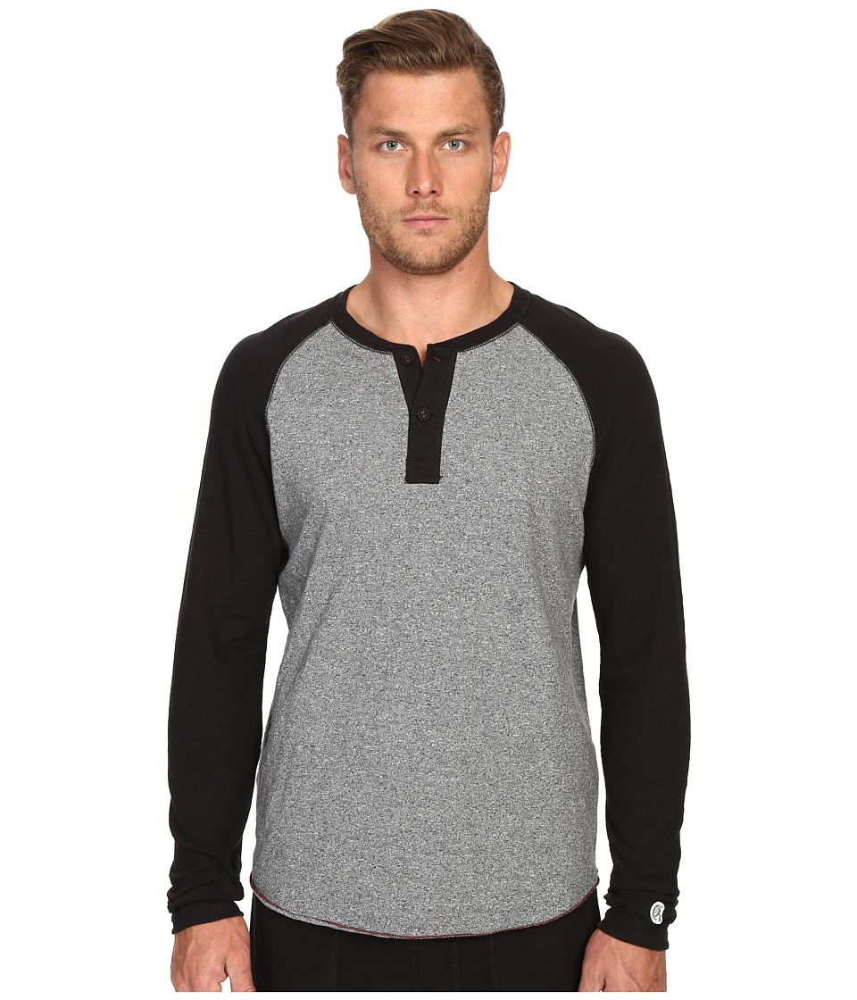 Todd Snyder Champion Color Block Henley Salt/Pepper Mens Long Sleeve Pullover