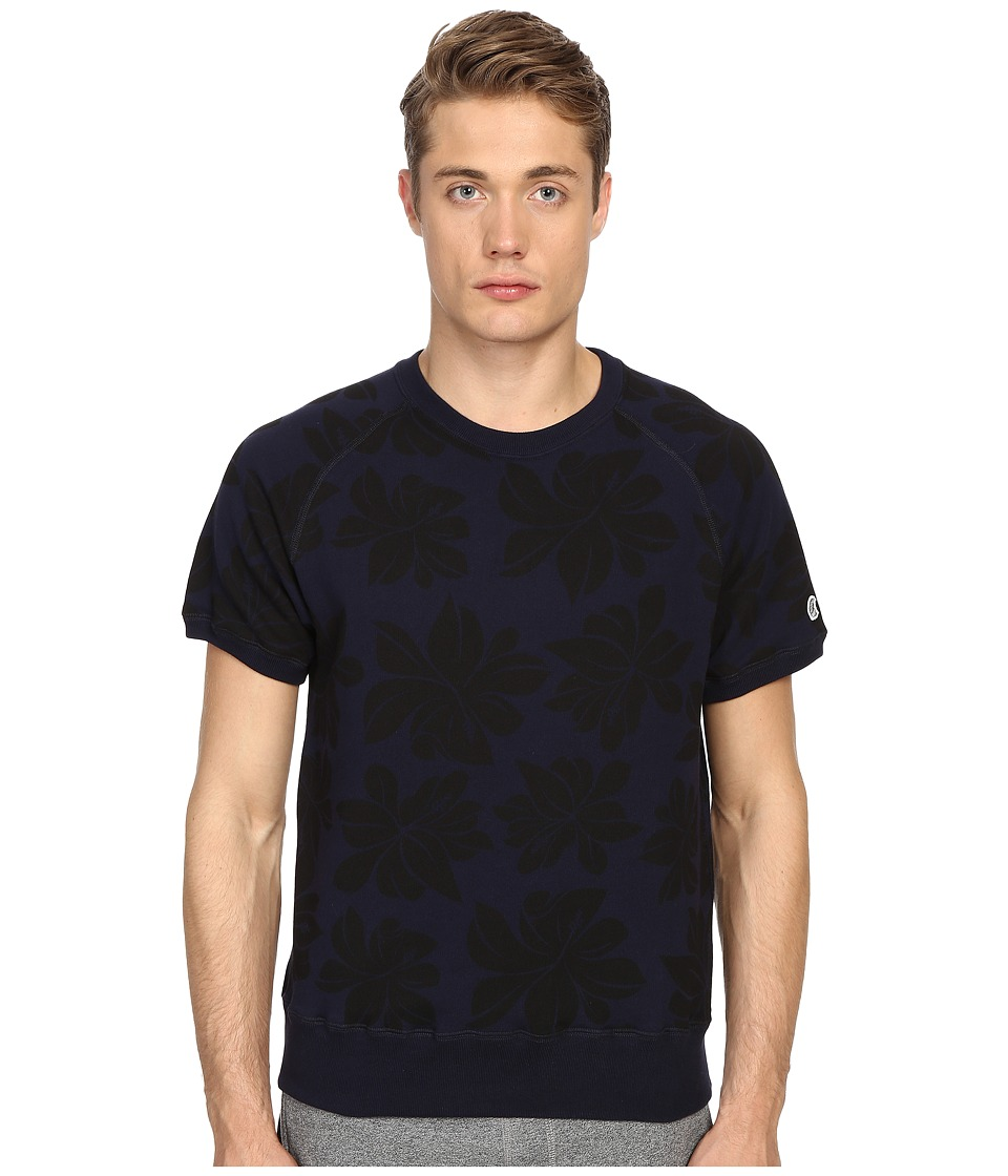 Todd Snyder Champion Floral Print Short Sleeve Sweatshirt Midnight Mens Sweatshirt
