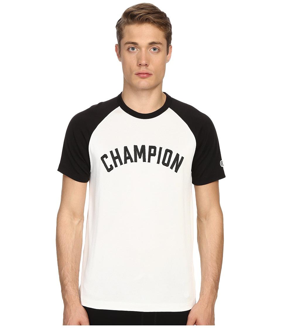 Todd Snyder Champion Short Sleeve Plated Raglan Shirt Vintage White Mens Short Sleeve Button Up