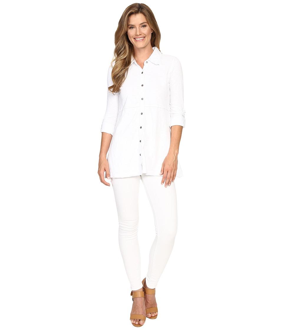 Mod-o-doc - Slub Jersey Button Front Tunic Top (White) Women