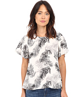 B Collection by Bobeau - Hadlee Palm Print Flutter Sleeve Woven Blouse