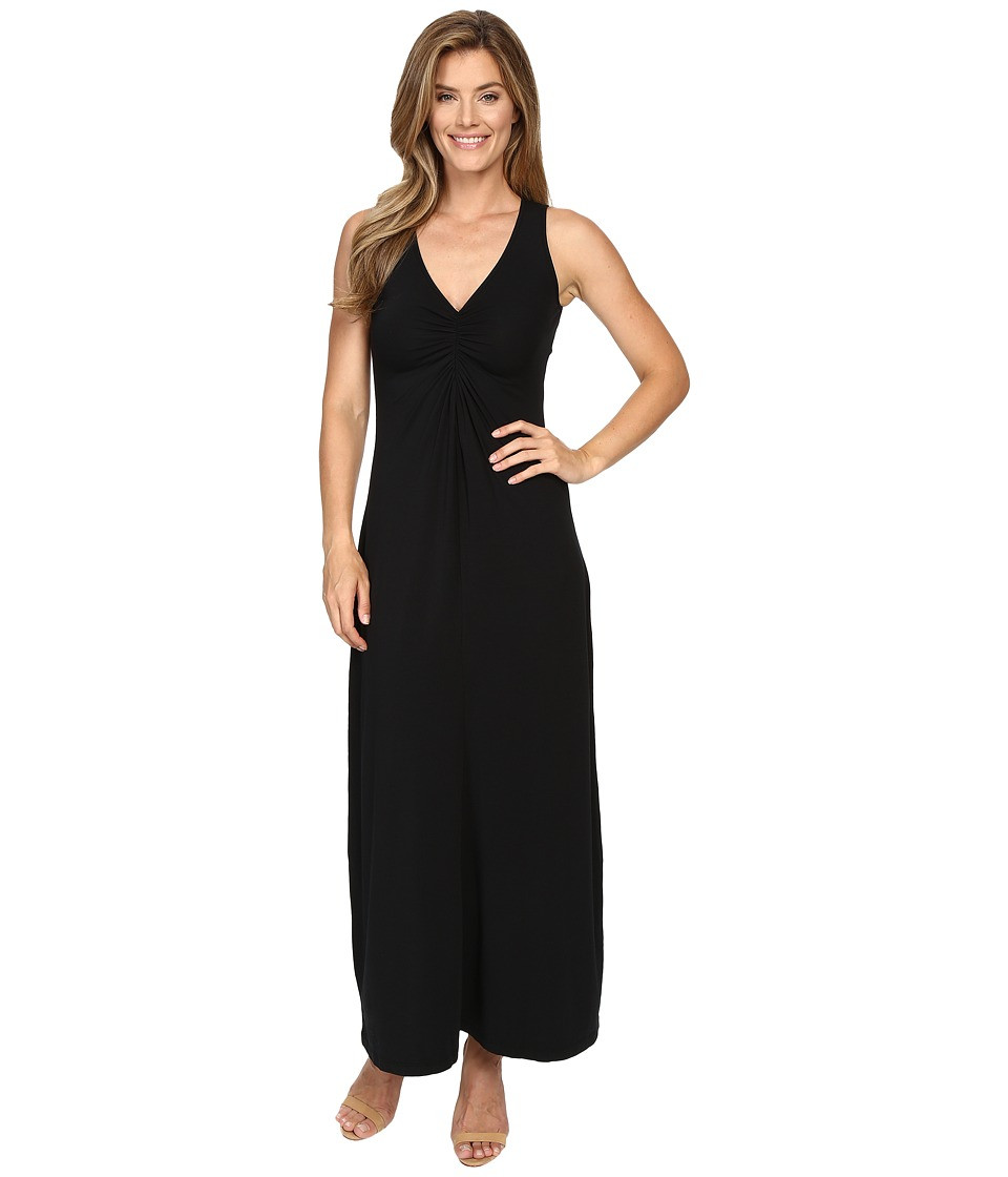 Mod-o-doc Cotton Modal Spandex Jersey Shirred Front V-Neck Maxi Dress (Black) Women