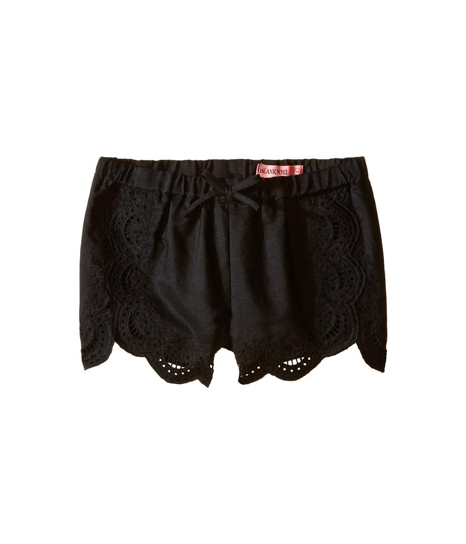 Blank NYC Kids Eyelet Elastic Shorts in Black Big Kids Black Girls Shorts