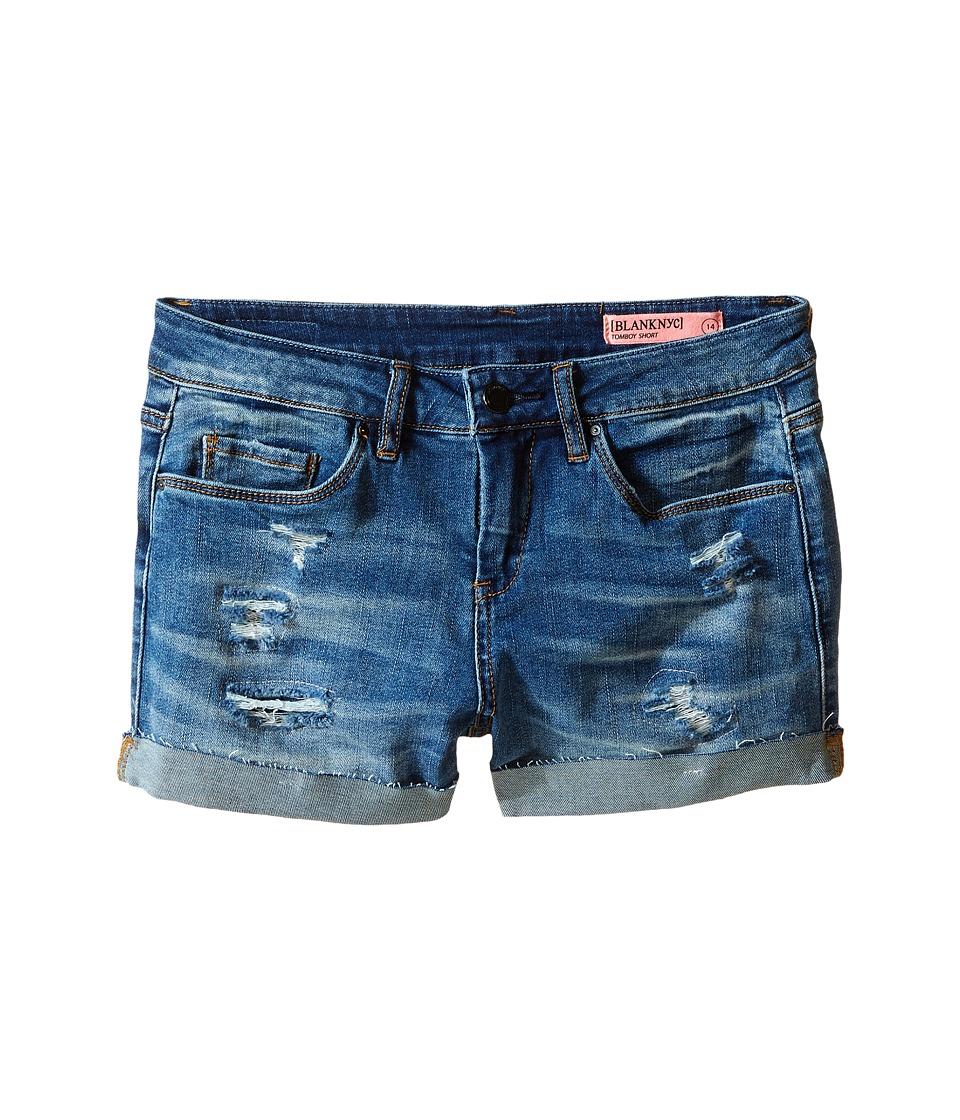 Blank NYC Kids Distressed Cuff Denim Shorts in Weekend Warrior Big Kids Blue Girls Shorts