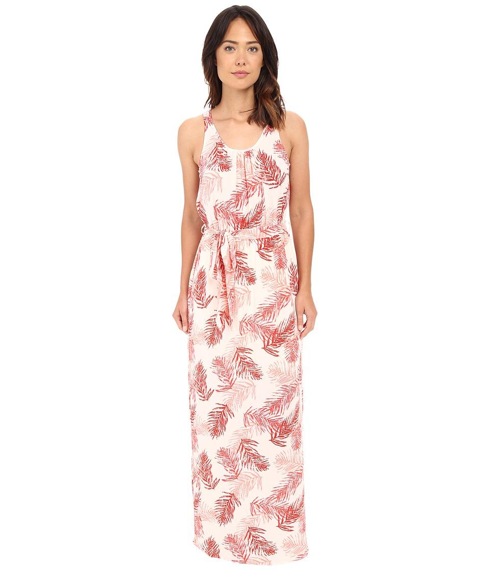 Bobeau Camellia Palm Print Maxi Dress Coral Womens Dress
