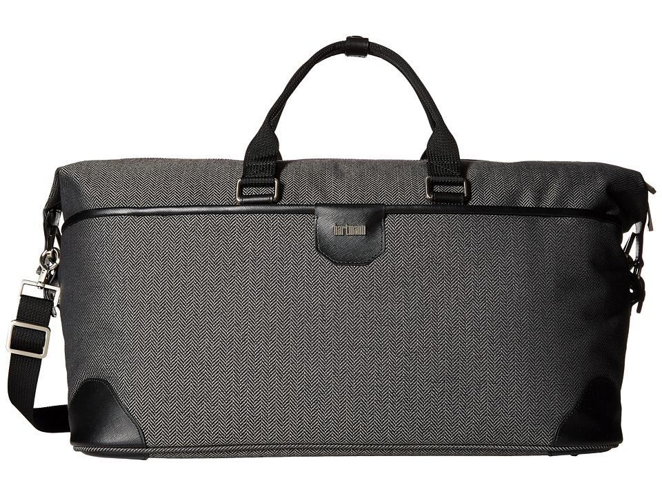 Hartmann Herringbone Luxe Weekend Duffel (Black Herringbone) Duffel Bags