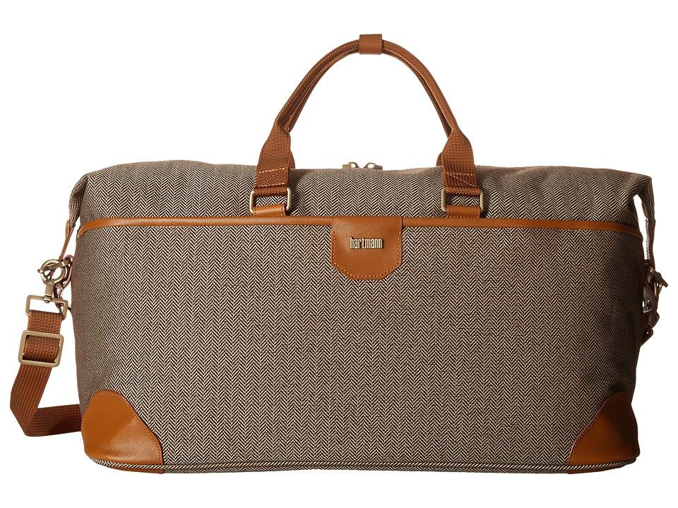 Hartmann Herringbone Luxe Weekend Duffel (Terracotta Herringbone) Duffel Bags