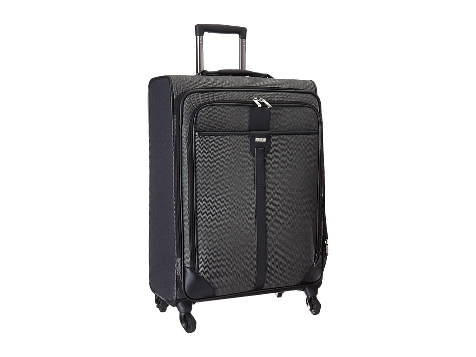 Hartmann Herringbone Luxe Medium Journey Expandable Spinner Black Herringbone Luggage