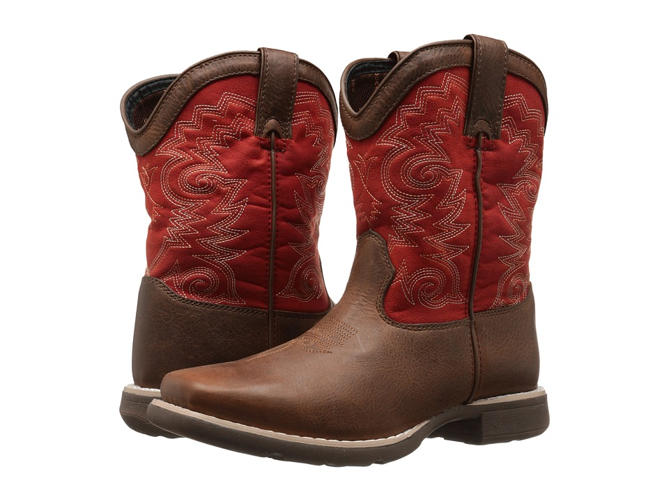 Durango Kids 8 Western Lil Durango Square Toe Big Kid Brown/Red Cowboy Boots