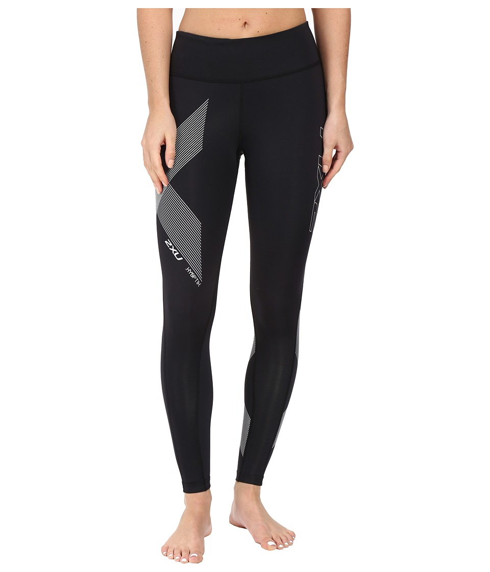2XU Hyoptik Mid-Rise Compression Tights (Black/Striped Silver Reflective) Women