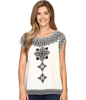 Vince Camuto - Drop Shoulder Ornate Blocks Panel Blouse
