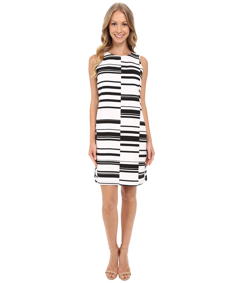 Vince Camuto Sleeveless Graphic Stagger Stripe Shift Dress Ultra White Womens Dress