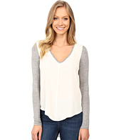 Calvin Klein Jeans - Mixed Media Solid Long Sleeve Blouse