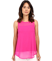 Vince Camuto - Sleeveless Top w/ Poly Chiffon Yoke and Hem