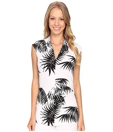 Vince Camuto Sleeveless Palm Silhouette Pleat V-Neck Top