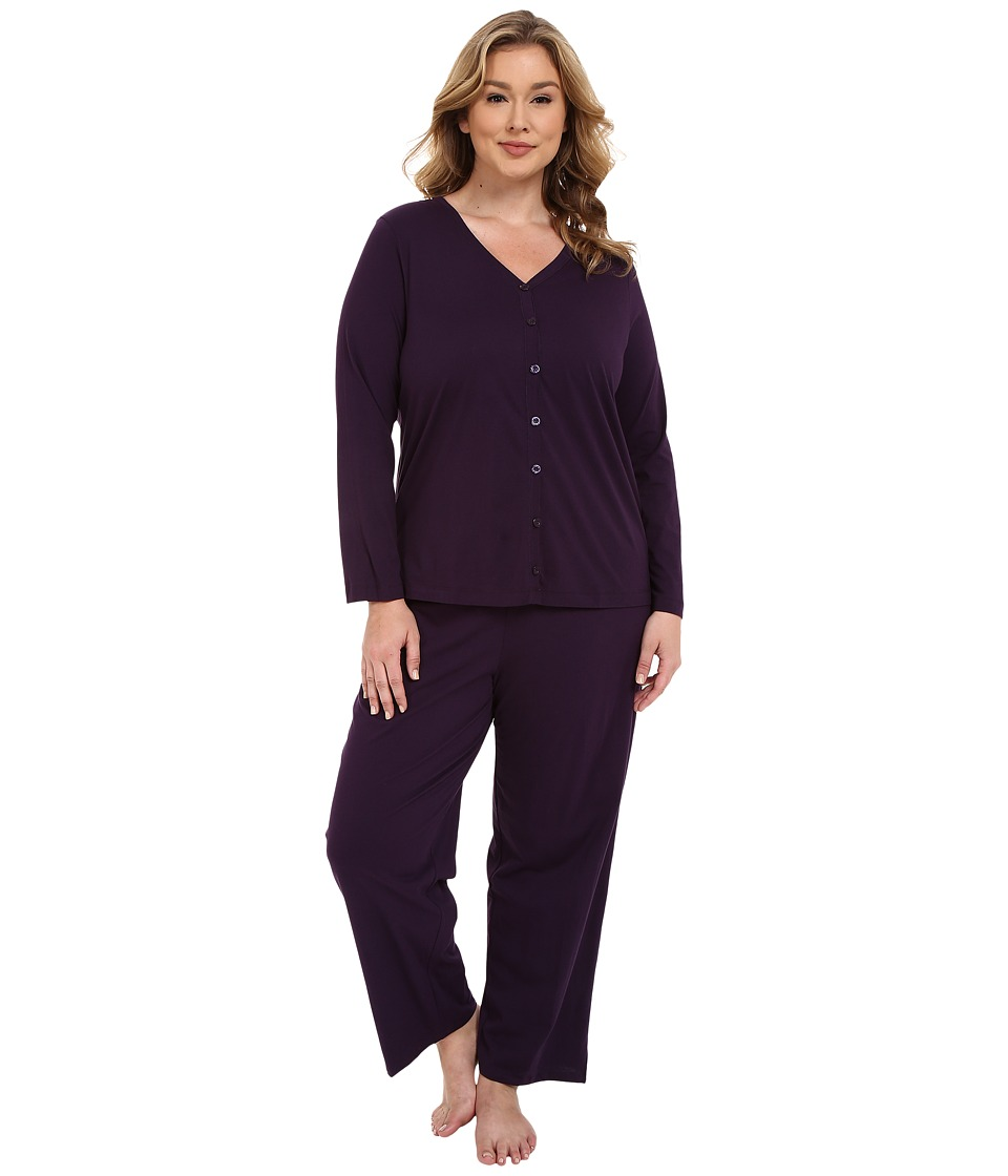 Jockey Plus Size Two Piece Cotton Cardigan PJ Set Eggplant Womens Pajama Sets