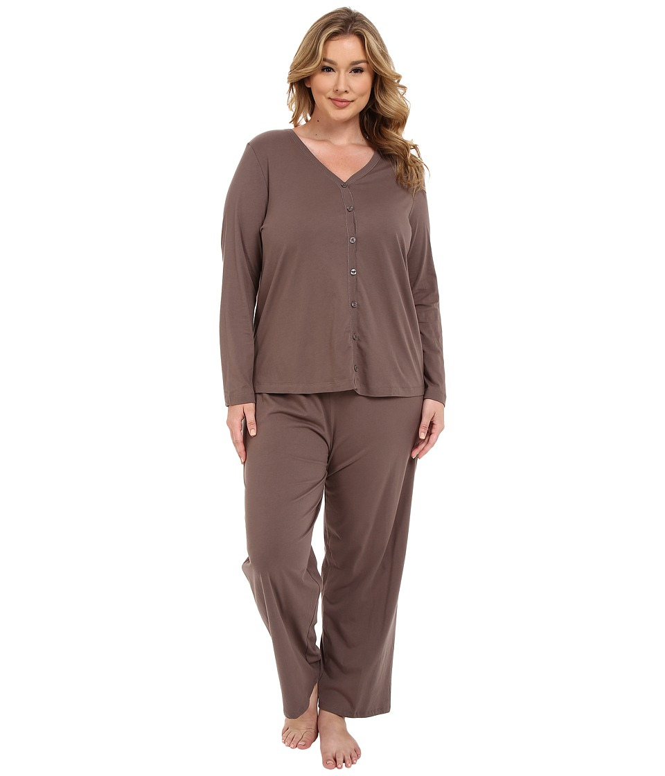 Jockey Plus Size Two Piece Cotton Cardigan PJ Set Truffle Womens Pajama Sets