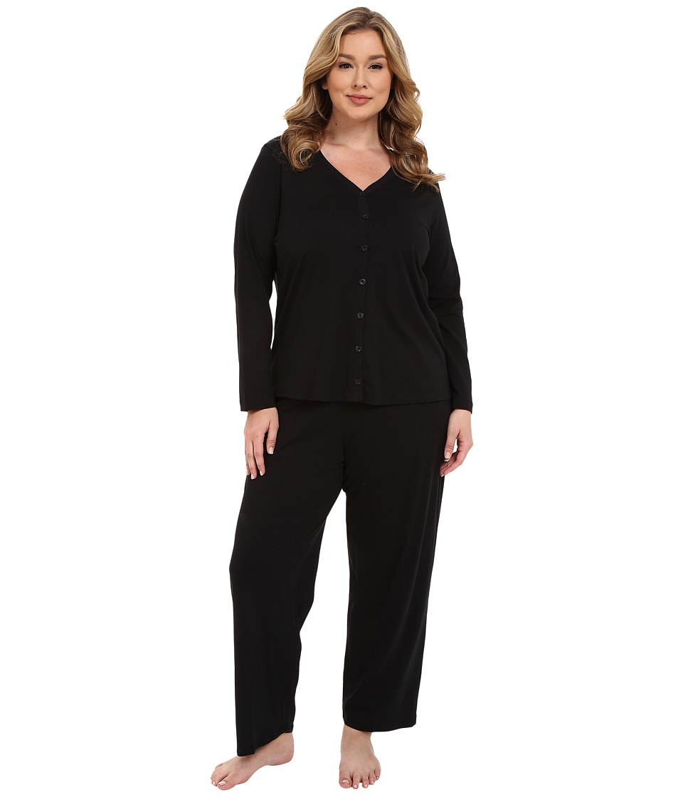 Jockey Plus Size Two Piece Cotton Cardigan PJ Set Black Womens Pajama Sets