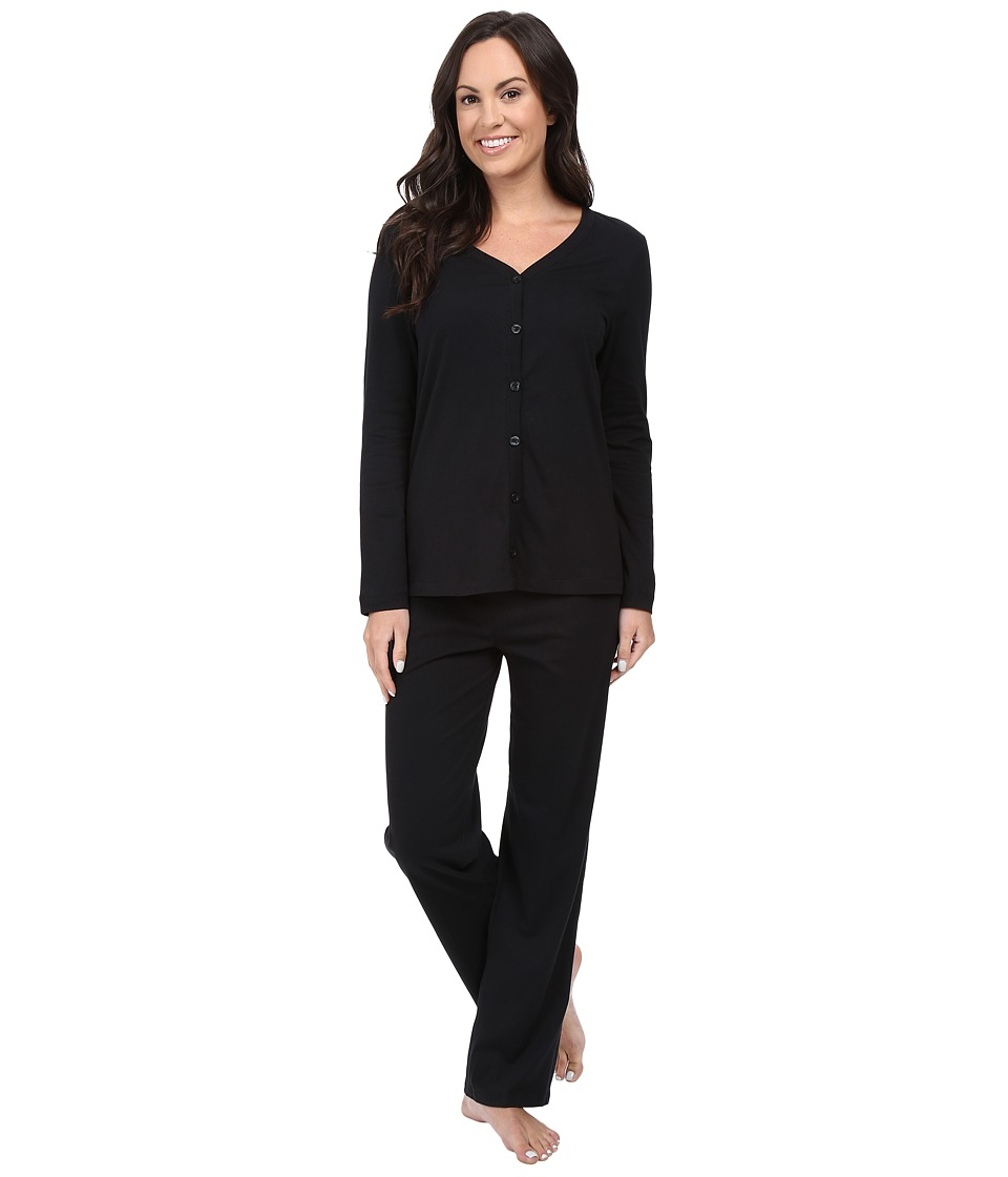 Jockey Two Piece Cotton Cardigan PJ Set Black Womens Pajama Sets