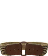 "LAUREN Ralph Lauren - 2 1/2"" Wood O-Ring On Mixed Media Woven Stretch"