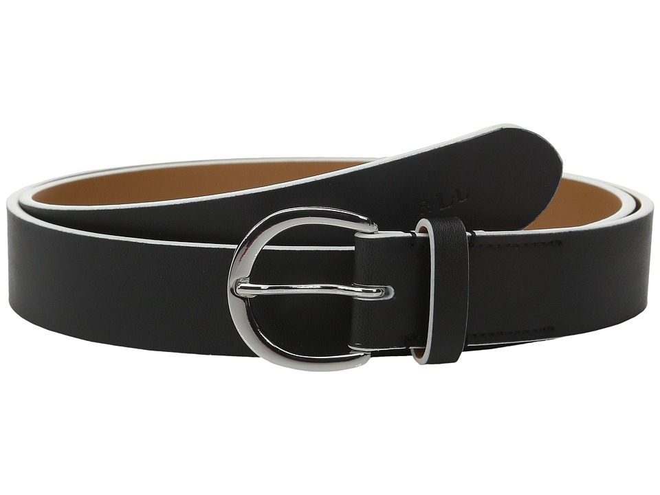LAUREN Ralph Lauren 1 1/8 Milford Endbar Belt w/ Contrast Edge Black/White Womens Belts