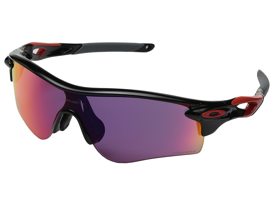 Oakley - (A) Radarlock (Polished Black/Red/Prizm Road) Plastic Frame Fashion Sunglasses