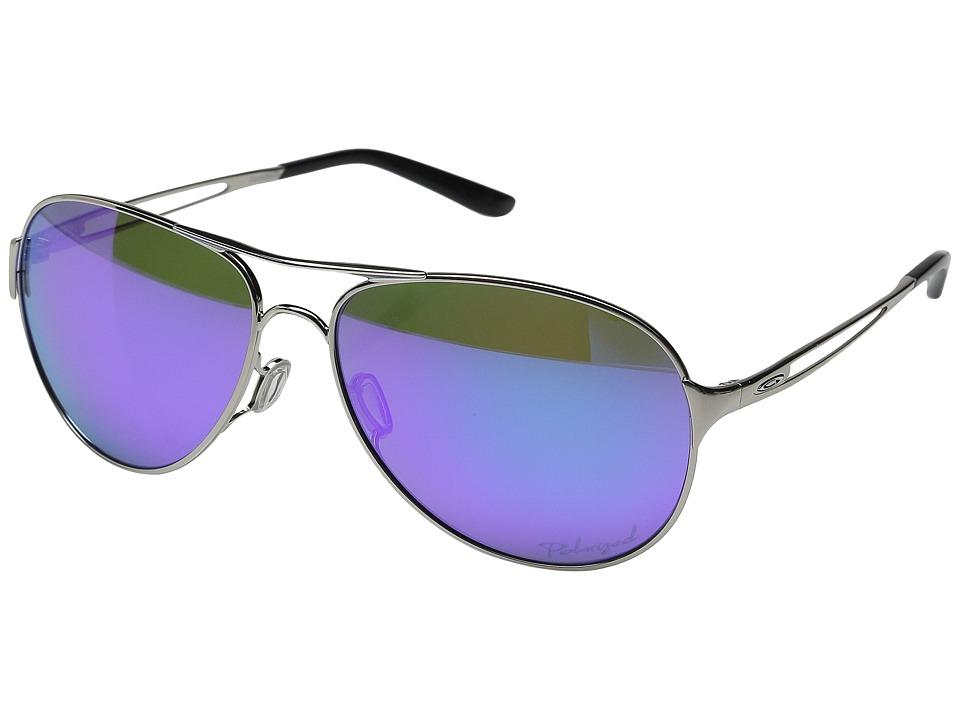 Oakley Caveat Polished Chrome/Violet Haze/Violet Iridium Polarized Sport Sunglasses