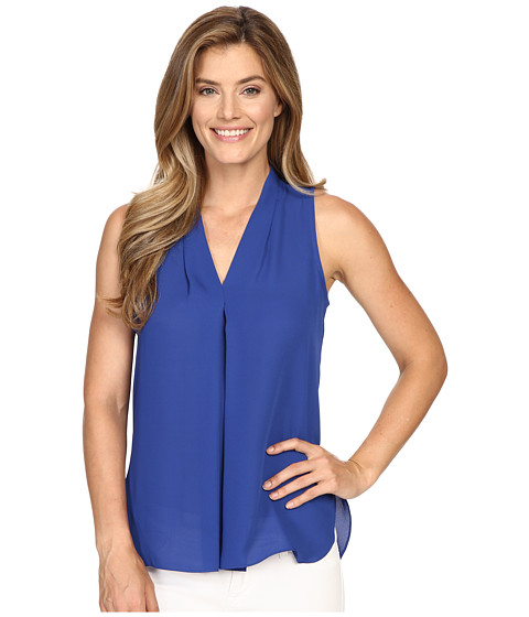 Vince Camuto Sleeveless V-Neck Blouse w/ Inverted Front Pleat