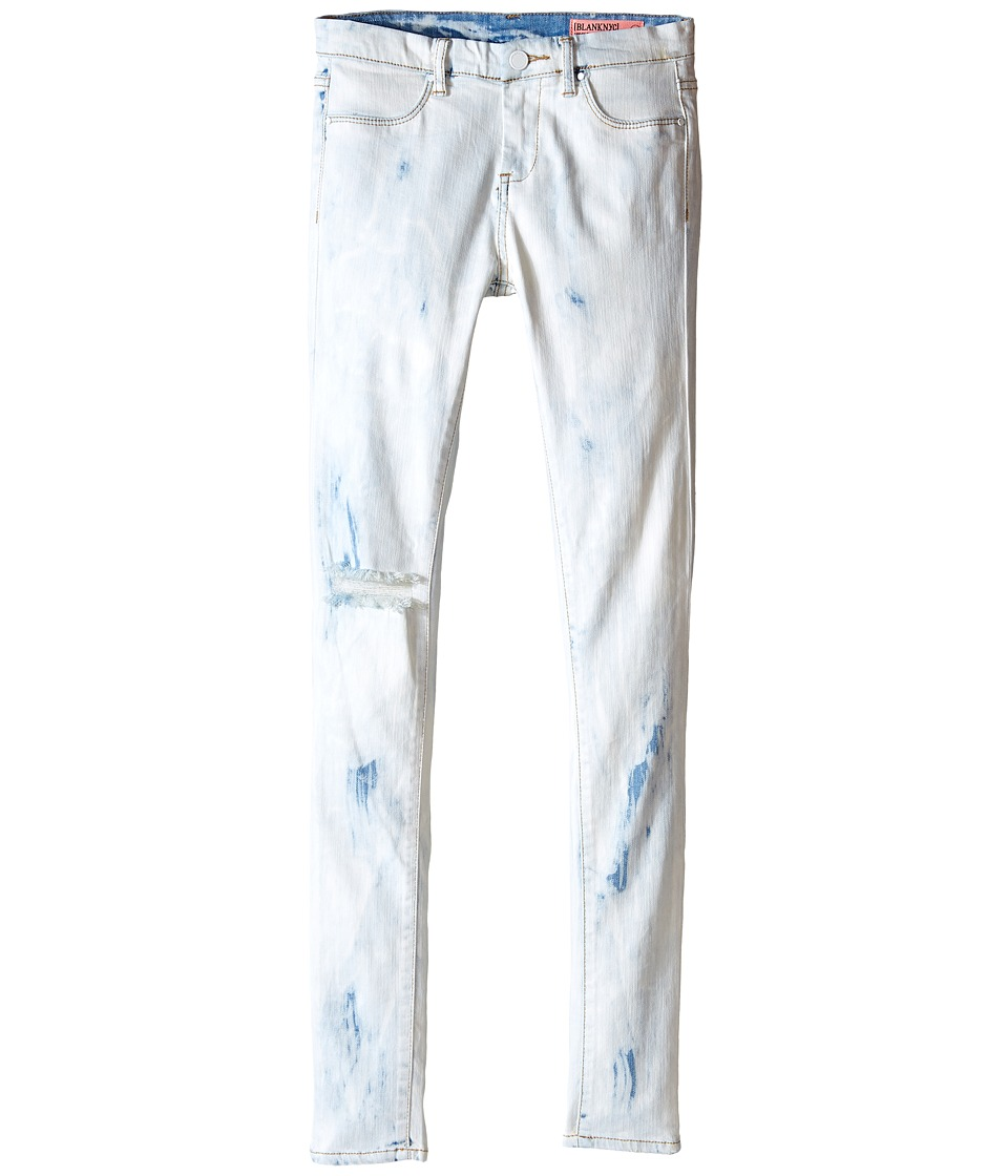 Blank NYC Kids Washed Out Skinny Jeans in Instant Karma (Big Kids) (Bleached White/Blue) Girl