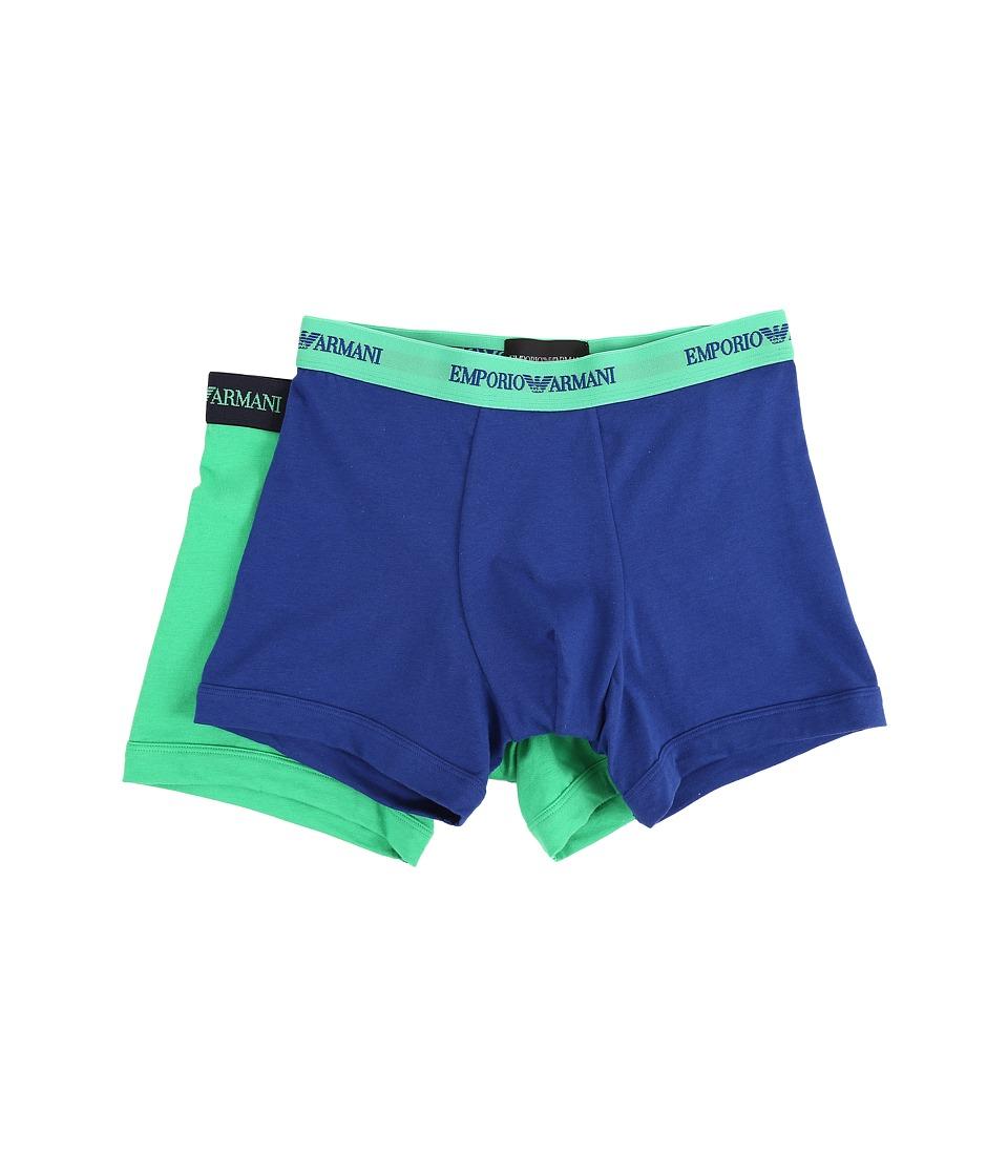 Emporio Armani 2 Pack Stretch Cotton Boxer Brief Elk Blue/Lawn Mens Underwear