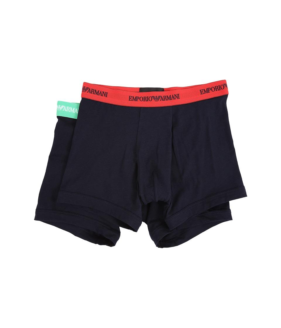 Emporio Armani 2 Pack Stretch Cotton Boxer Brief Marine/Marine Mens Underwear