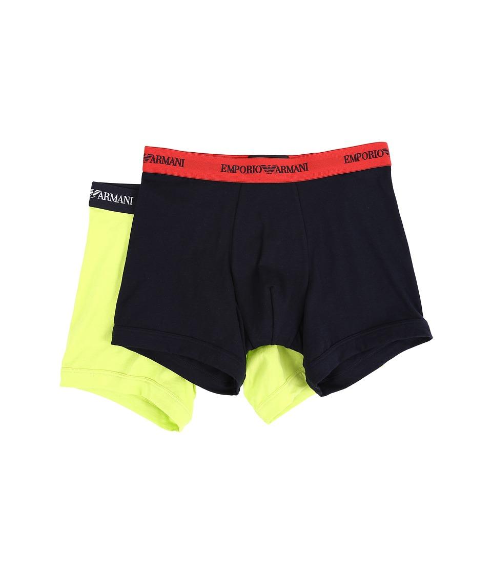 Emporio Armani 2 Pack Stretch Cotton Boxer Brief Marine/Acid Mens Underwear