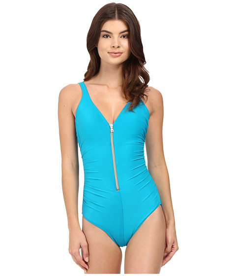 Miraclesuit - Solid Ziptress One-Piece (Lagoon) Women's Swimsuits One Piece