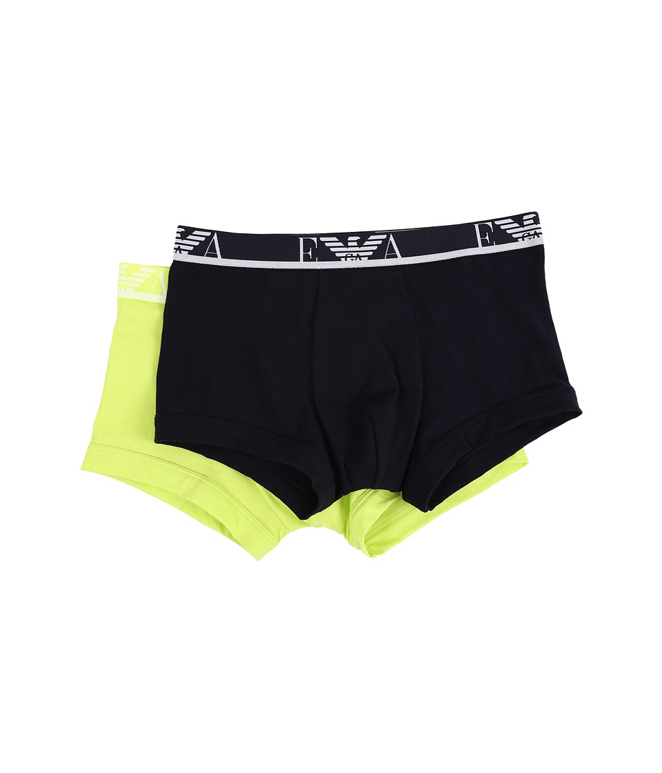Emporio Armani 2 Pack Colored Stretch Cotton Trunk Marine/Acid Mens Underwear