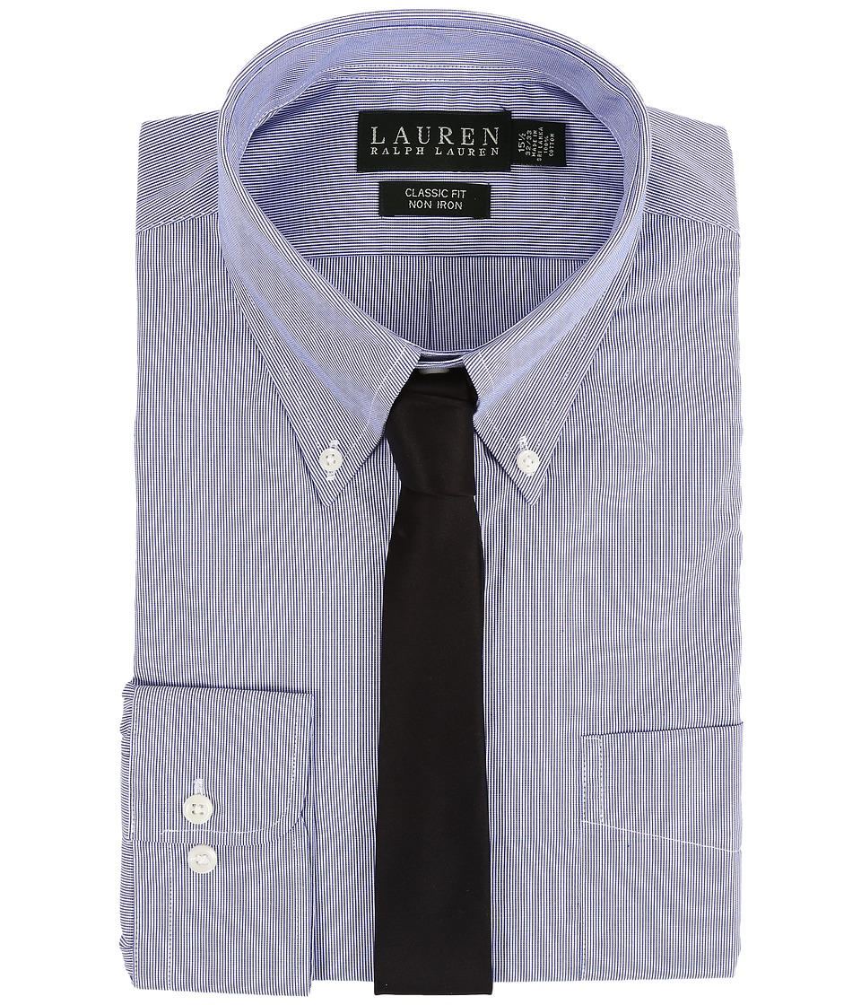 LAUREN Ralph Lauren - Hairline Stripe Classic Button Down Shirt (Blue/White) Mens Long Sleeve Button Up