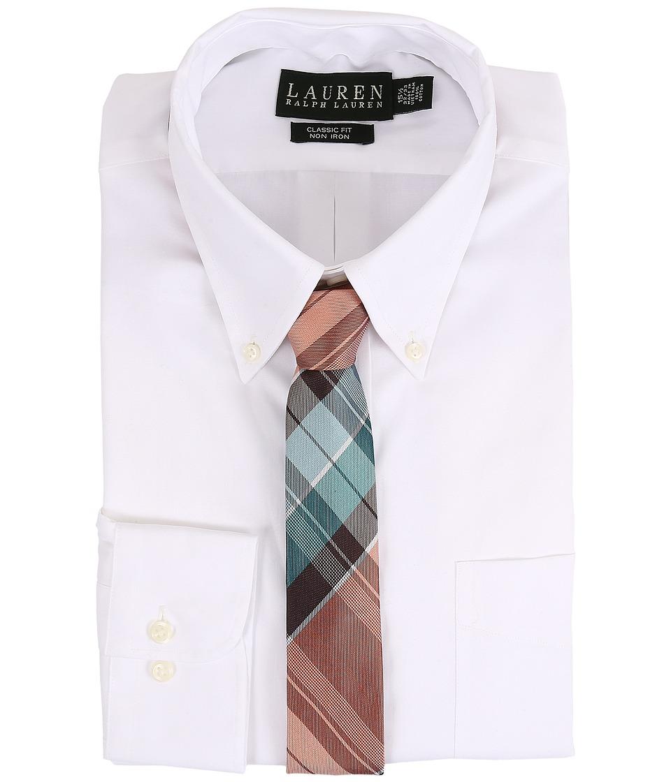 LAUREN Ralph Lauren - Pinpoint Classic Button Down Shirt (White) Mens Long Sleeve Button Up