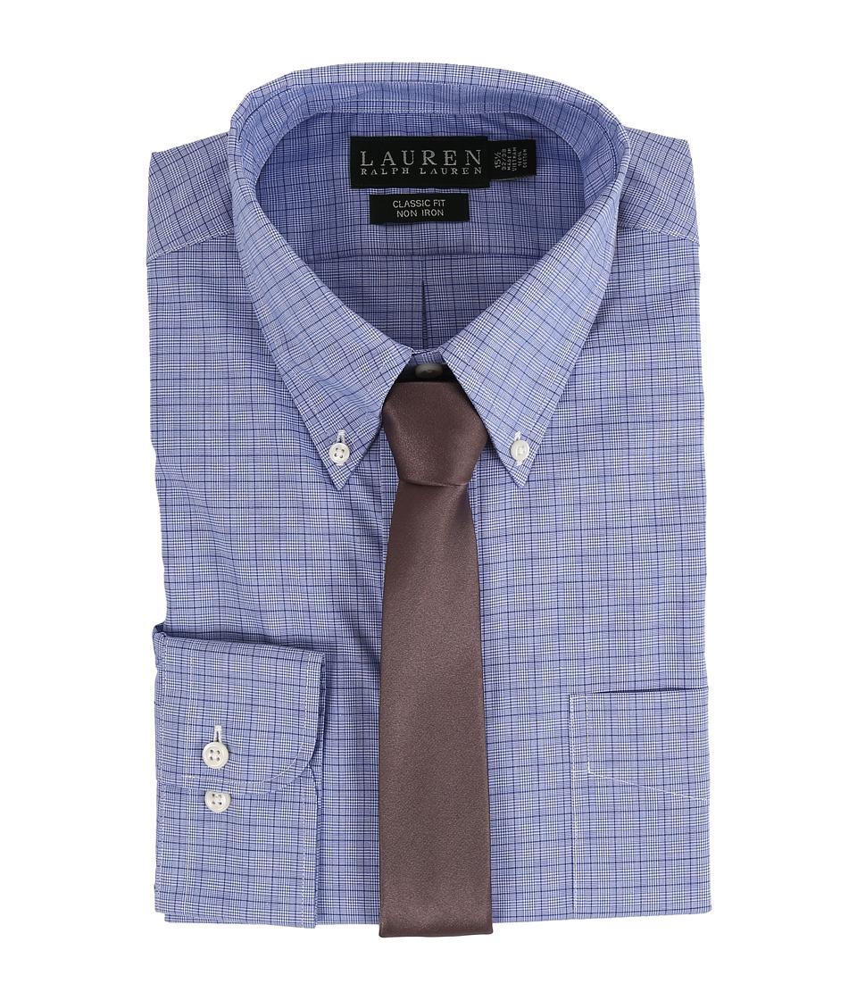 LAUREN Ralph Lauren - Glen Plaid Classic Button Down Shirt (Blue) Mens Long Sleeve Button Up