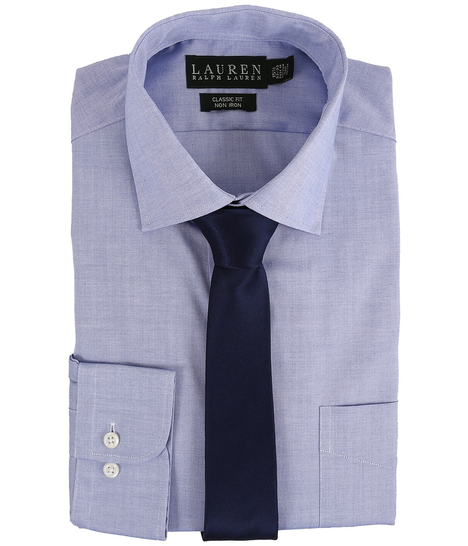 LAUREN Ralph Lauren - Pinpoint Spread Collar Classic Button Down Shirt (Blue) Men's Long Sleeve Button Up