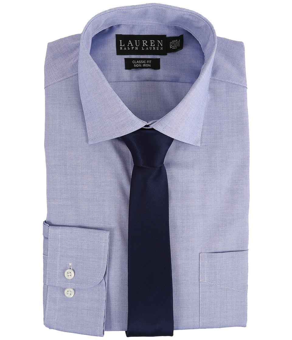 LAUREN Ralph Lauren - Pinpoint Spread Collar Classic Button Down Shirt (Blue) Mens Long Sleeve Button Up
