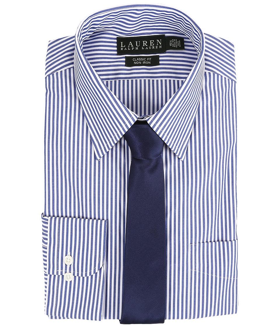 LAUREN Ralph Lauren - Bengal Stripe Spread Collar Classic Button Down Shirt (Blue/White) Mens Long Sleeve Button Up
