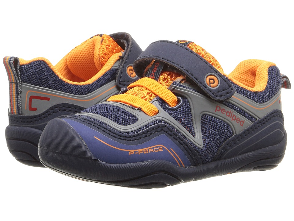 pediped - Force Grip n Go (Toddler) (Navy/Orange) Boys Shoes