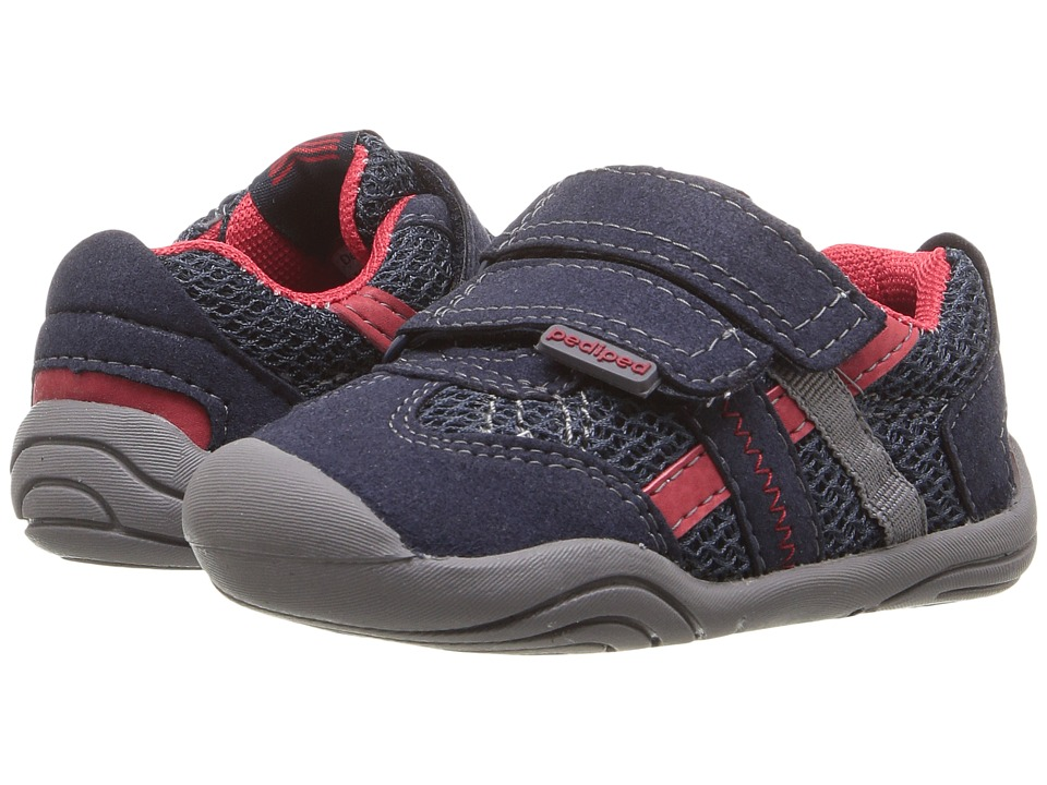 pediped Gehrig Grip n Go (Toddler) (Navy/Cherry) Boy's Shoes