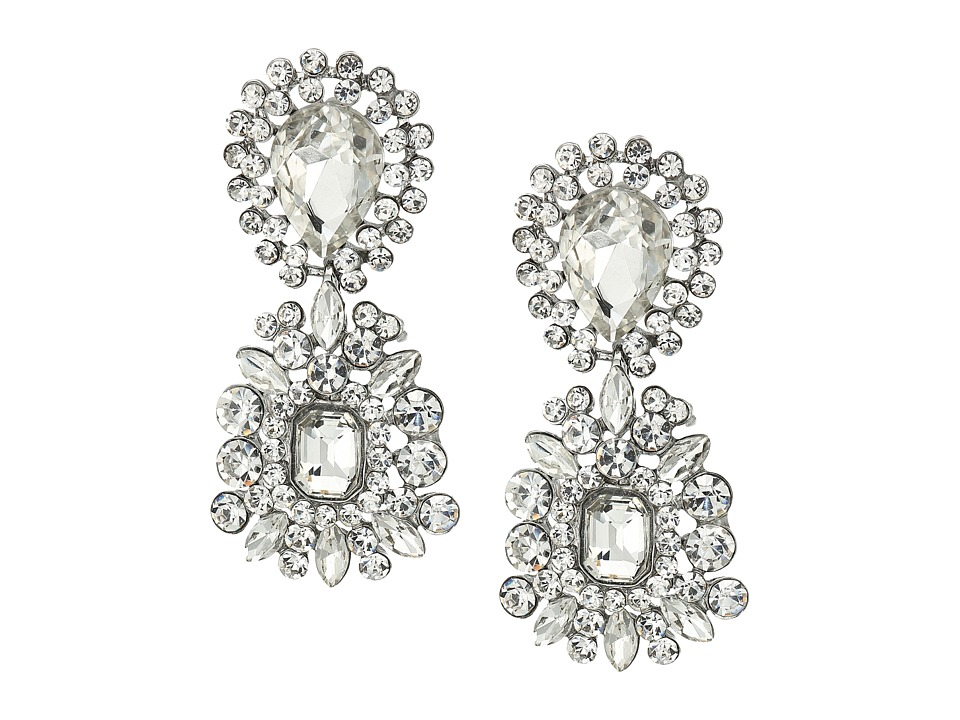 Nina Nina - 2 Part Crystal Cluster Hanging Earrings