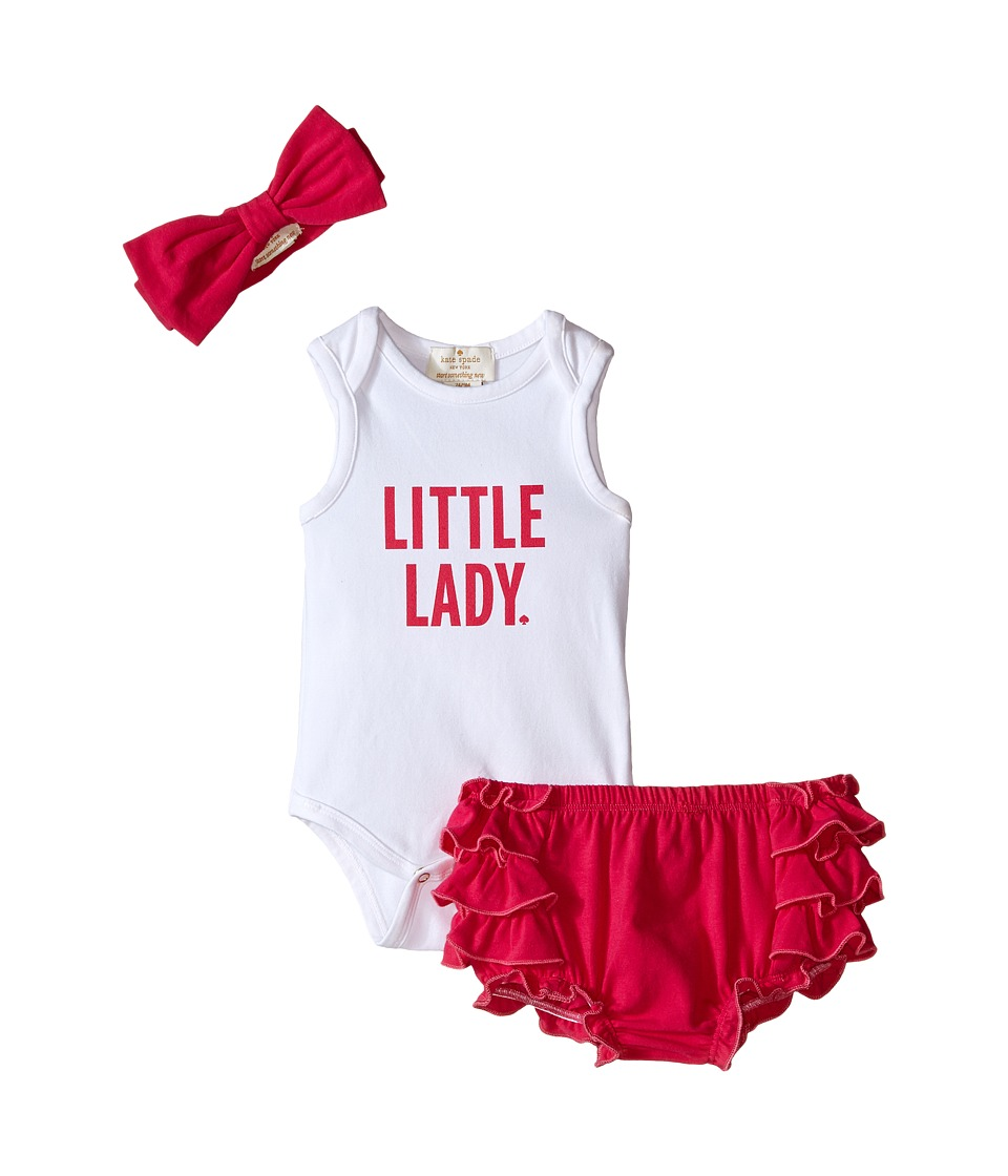 Kate Spade New York Kids Little Lady Gift Set Infant Fresh White/Sweetheart Pink Girls Jumpsuit Rompers One Piece